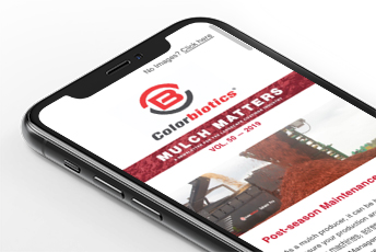 Image of mobile phone with Mulch Matters eNewsletter