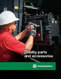 Cover of parts and accessories brochure for mulch coloring equipment