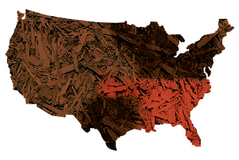 United States map showing mulch color trends by region